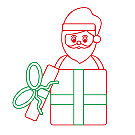 santa claus coming out of gift box christmas related icon image vector illustration design  green and red line