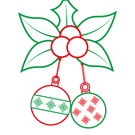 holly berries with dangling balls christmas related icon image vector illustration design  green and red line Stock Vector - 90163829
