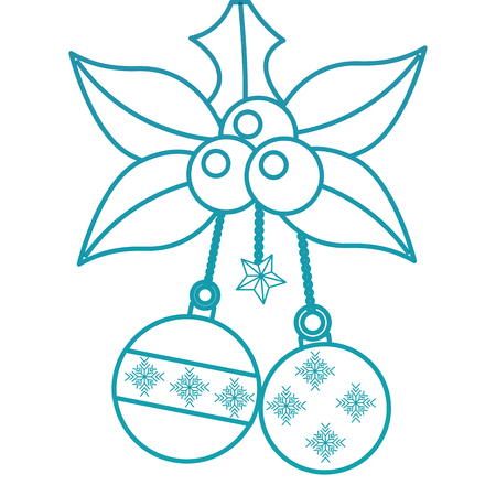 holly berries with dangling balls christmas related icon image vector illustration design
