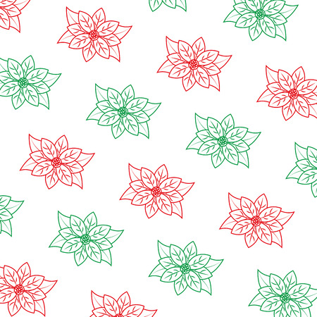 poinsettia flower pattern christmas related icon image vector illustration design  green and red line