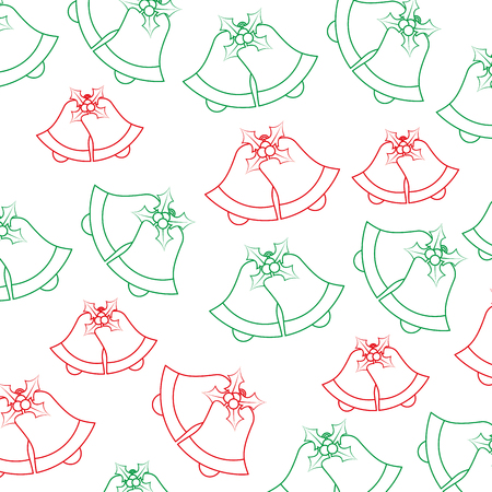 bells with holly berries pattern christmas related image vector illustration design  green and red line