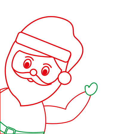 santa claus with hand up christmas related icon image vector illustration design  green and red line Illustration