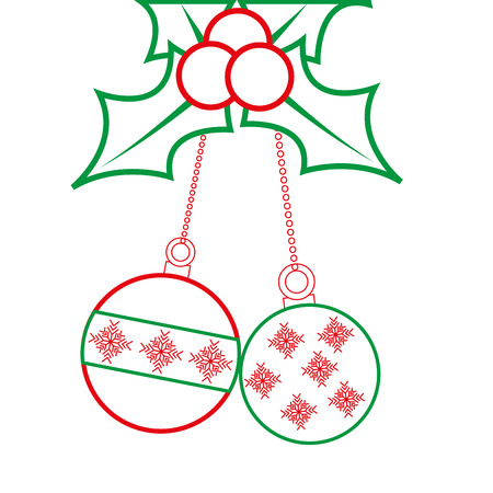 holly berries with dangling balls christmas related icon image vector illustration design  green and red line Illustration