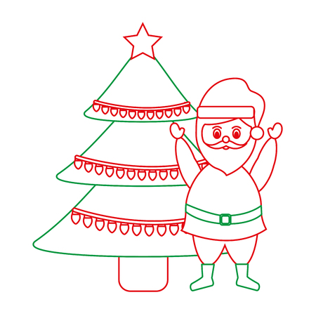 santa claus with tree christmas related icon image vector illustration design  green and red line