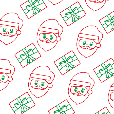 santa claus gift box pattern christmas related image vector illustration design  green and red line