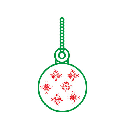 ball christmas related icon image vector illustration design  green and red line Illustration