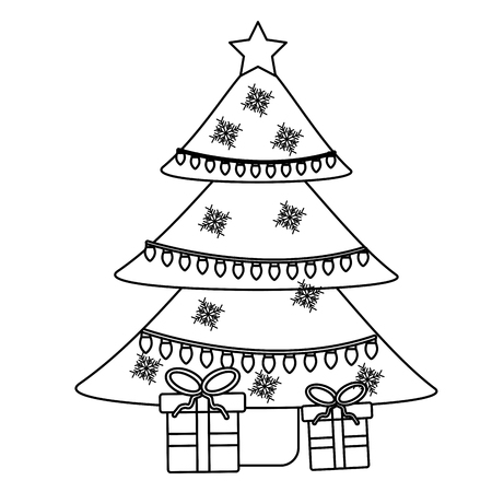 christmas with decorated tree and gift boxes for party vector illustration Illustration