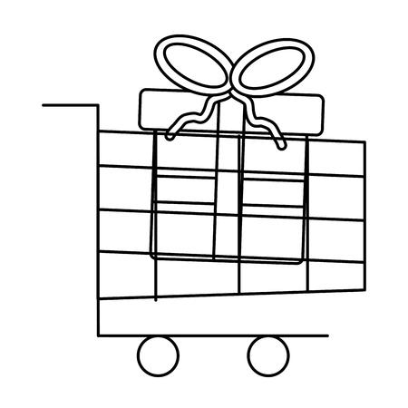선물 상자와 쇼핑 카트 큰 판매 크리스마스 벡터 일러스트 레이 션 일러스트