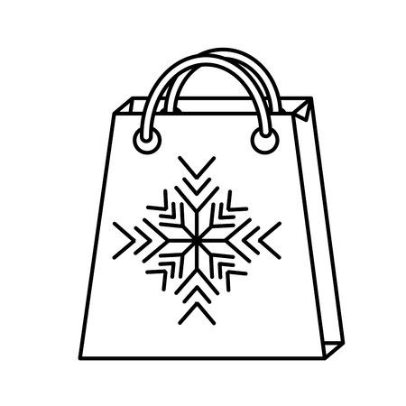 christmas paper bag gift shopping snowflake season vector illustration