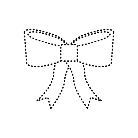 ribbon bow icon image vector illustration design  black dotted line
