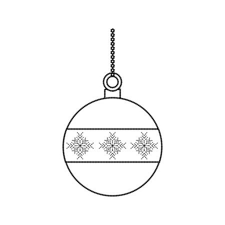 bal kerst gerelateerde pictogram afbeelding vector illustratie ontwerp zwarte stippellijn Stock Illustratie