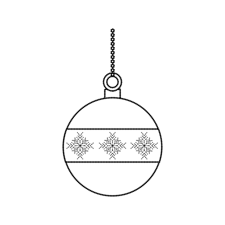 ball christmas related icon image vector illustration design  black dotted line Ilustração