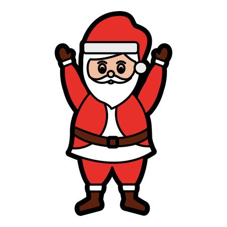 面白いサンタ クロースの文字豪華なひげのメリー クリスマス ベクトル イラストを祝う