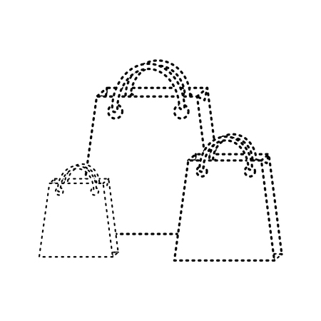 shopping bag icon image vector illustration design  black dotted line
