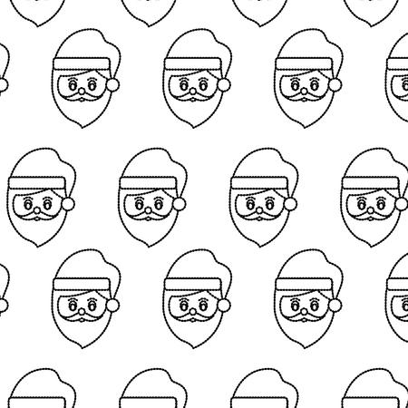 santa claus head pattern christmas related image vector illustration design  black dotted line Illustration