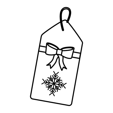 christmas price tag with bow and hanger sale promotion and vector illustration