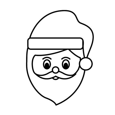 santa claus face cartoon funny christmas character vector illustration Ilustracja