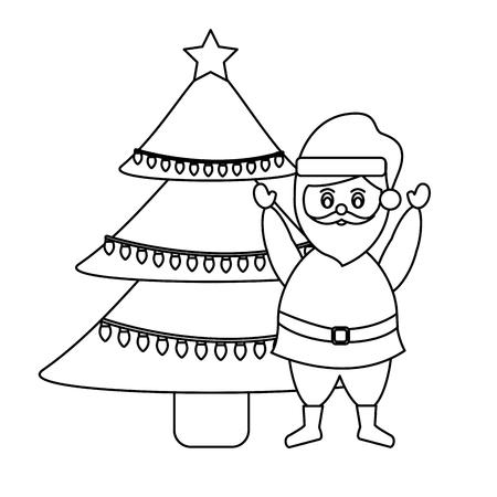 cute cartoon santa claus decorating christmas tree vector illustration