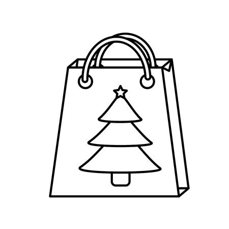 christmas paper bag gift tree shopping season vector illustration Illustration