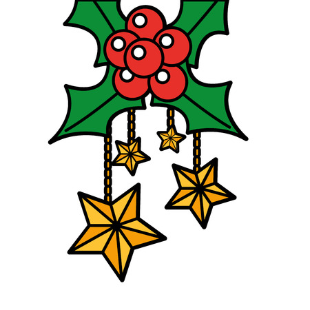 christmas ornaments with stars hanging and evergreen vector illustration
