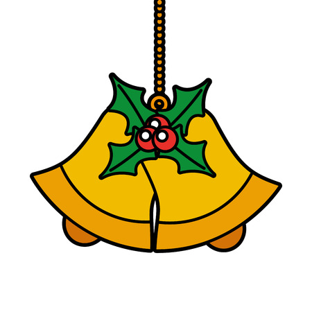 christmas bells with holly and berries decoration vector illustration 向量圖像