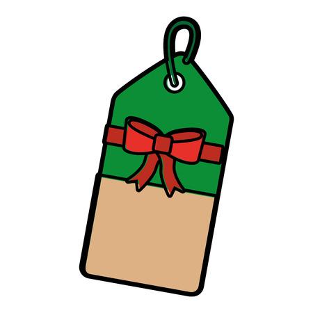 Kerstmisprijskaartje met boog en hangerverkoopbevordering en vectorillustratie Stock Illustratie