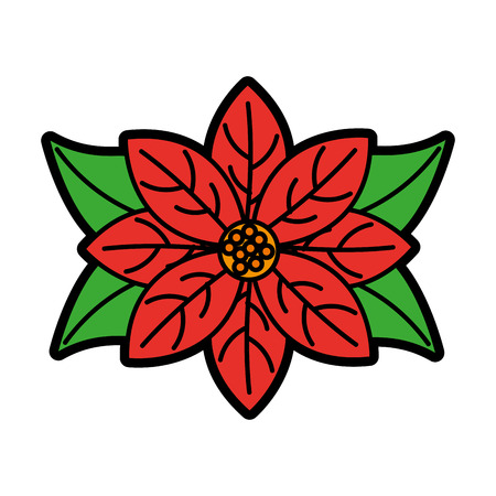poinsettia flower for christmas decoration natural vector illustration
