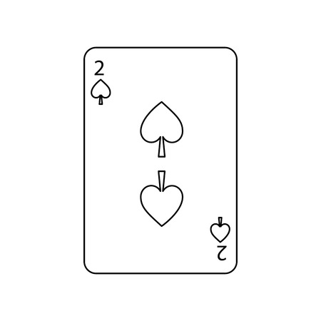 Two of spades card icon vector illustration Çizim