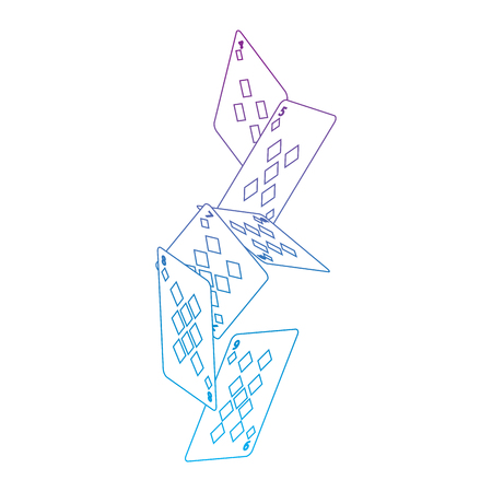 falling diamonds suit french playing cards related icon icon image vector illustration design  purple to blue ombre line