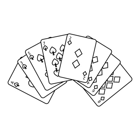 poker deck cards gambling diamond and spade suit vector illustration