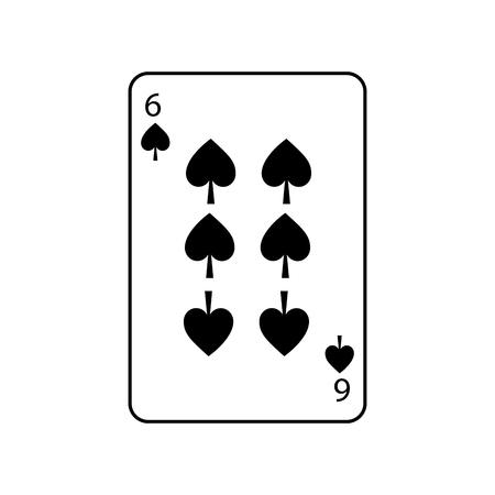six of spades french playing cards related icon icon image vector illustration design  Illustration