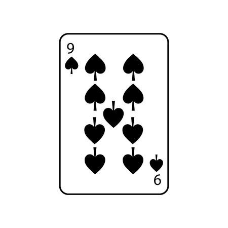 스페이드의 9 개 프랑스의 카드 놀이 관련 아이콘 아이콘 이미지 벡터 일러스트 레이 션 디자인