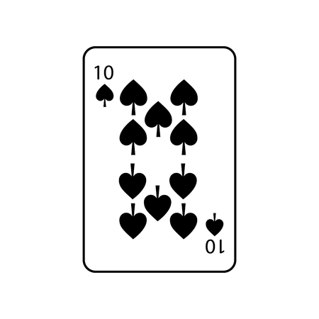 ten of spades french playing cards related icon icon image vector illustration design