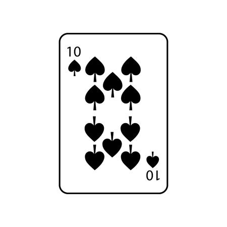 Zehn Pik französische Spielkarten bezogen sich auf Ikonenikonenbildvektor-Illustrationsdesign Standard-Bild - 90155705