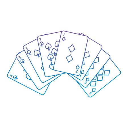 Spaten-Diamanten entspricht französischem Spielkarten bezogenem Ikonenikonenbildvektor-Illustrationsdesignpurpur zur blauen ombre Linie Standard-Bild - 90155016