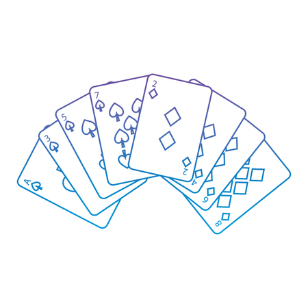 spades diamonds suits french playing cards related icon icon image vector illustration design  purple to blue ombre line Illustration