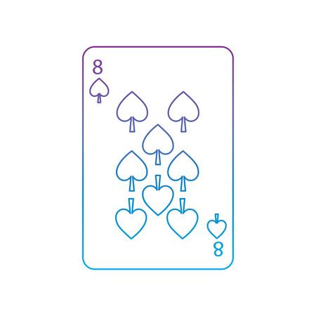 Acht der französischen Spielkarten der Spaten in Verbindung stehendes Ikonenikonenbildvektorillustrationsdesign purpurrot zur blauen ombre Linie Standard-Bild - 90155017