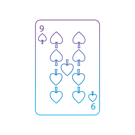nine of spades french playing cards related icon icon image vector illustration design  purple to blue ombre line Standard-Bild - 90155018