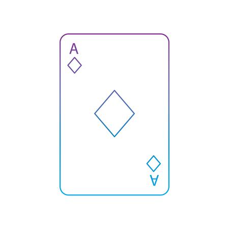 Asso di diamanti o tessere francesi carte da gioco relative icona icona immagine illustrazione vettoriale design viola a blu linea ombre Archivio Fotografico - 90155088