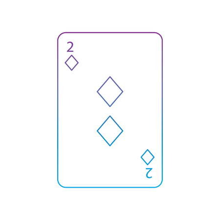two of diamonds or tiles french playing cards related icon icon image vector illustration design  purple to blue ombre line