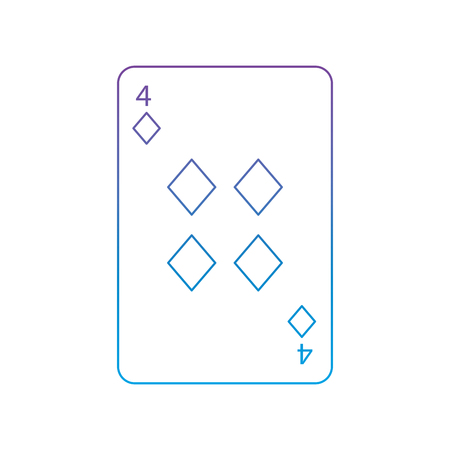 four of diamonds or tiles french playing cards related icon icon image vector illustration design  purple to blue ombre line