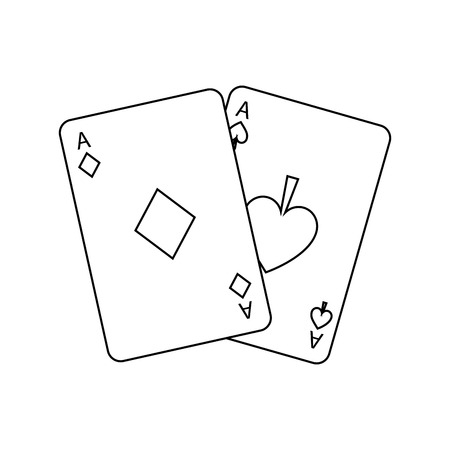 two aces playing cards poker casino icon vector illustration 向量圖像