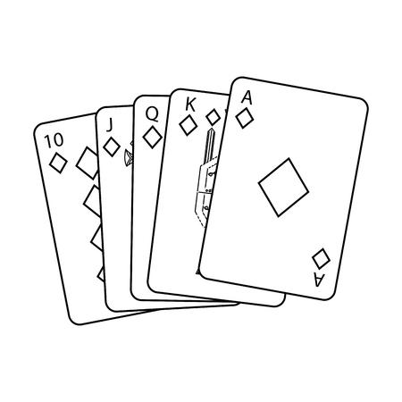 로얄 플러시 재생 카드 포커 카지노 벡터 일러스트 레이션
