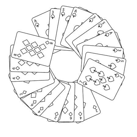Spaten Diamanten Anzüge Französisch Spielkarten in Kreis Symbol Bild Vektor Illustration Design Standard-Bild - 90159910
