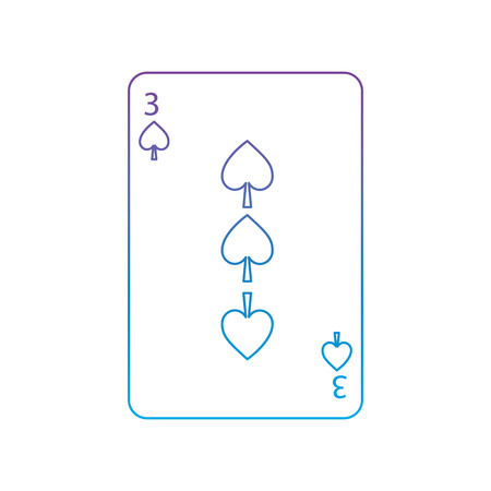 three of spades french playing cards related icon icon image vector illustration design  purple to blue ombre line