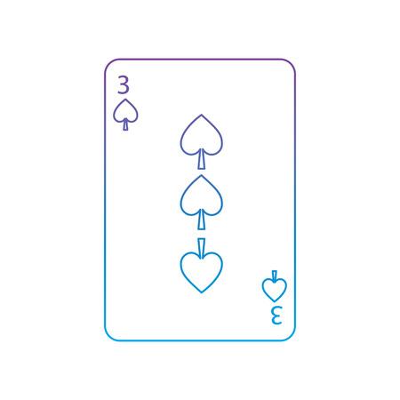 Tre di picche carte da gioco francesi relative icona icona immagine illustrazione vettoriale design viola alla linea blu ombre Archivio Fotografico - 90159989