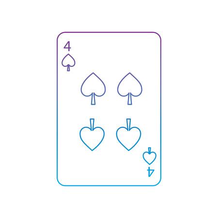 Vier der französischen Spielkarten des Spatens bezogen sich das Ikonenikonenbildvektor-Illustrationsdesign, das zur blauen ombre Linie purpurrot ist Standard-Bild - 90159990
