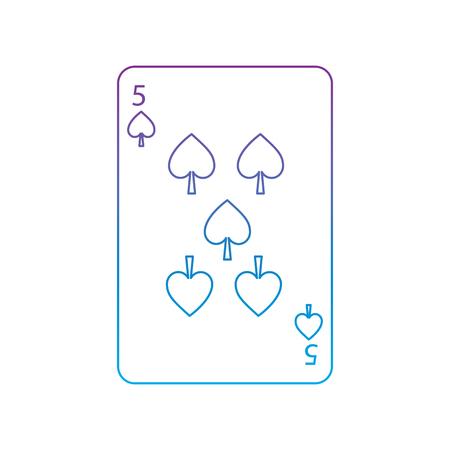 스페이드의 다섯 프랑스어 재생 카드 관련 아이콘 아이콘 이미지 벡터 일러스트 디자인 보라색 파란색 ombre 라인