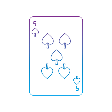 five of spades french playing cards related icon icon image vector illustration design  purple to blue ombre line Standard-Bild - 90159992