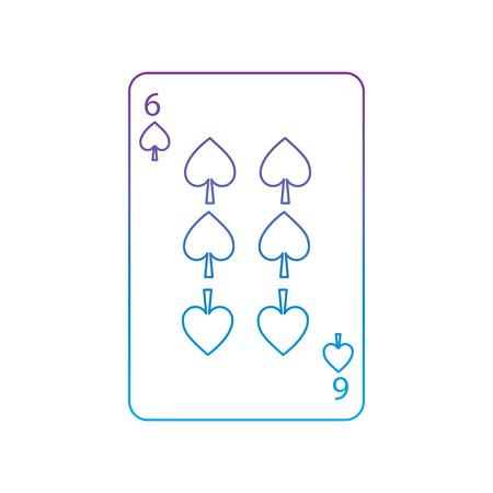 Sechs der französischen Spielkarten der Spaten in Verbindung stehendes Ikonenikonenbildvektor-Illustrationsdesign purpurrot zur blauen ombre Linie Standard-Bild - 90159993